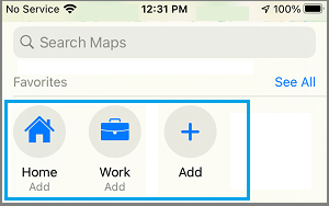 Add Home and Work Address Option in Maps