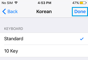 Add Standard Korean Keyboard on iPhone