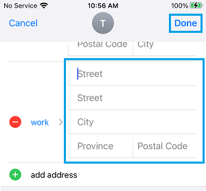 Add Work Address to Contact Card on iPhone