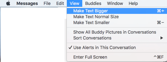 Change Text Size in Messages App Using The View Option on Mac