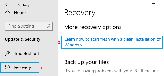 Clean Installation of Windows Option