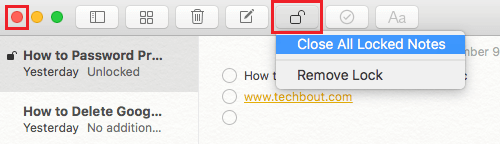 Close All Locked Notes on Mac