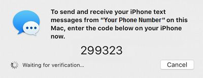 Six Digit Verification Code For Text Message Forwarding on Mac