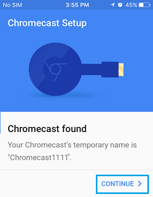 Continue Setting up Chromecast