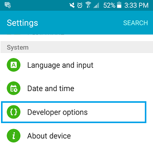 Developer Options Tab On Android Phone