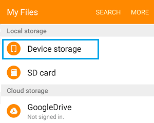 Device and Storage Settings Option on Android Phone