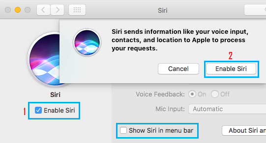 Enable Siri and Show Siri in Menu Bar