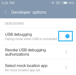 Enable USB DEbugging Mode on Android Phone
