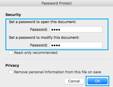 Enter Password in Word 2016 for Mac