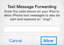Enter Securtiy Code on iPhone For Text Message Forwarding