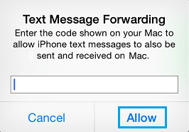Verification Code Pop-up For Text Message Verification on iPhone
