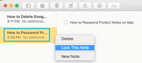 Password Protect Any Note on Mac