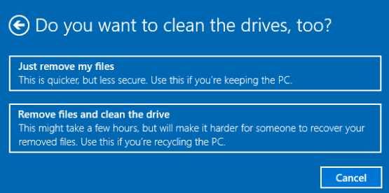Remove Files and Clean Drive Option in Windows 10