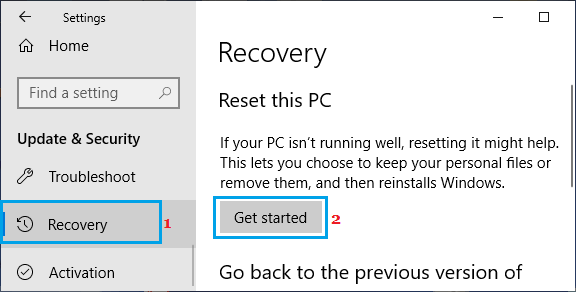 Reset This PC option in Windows