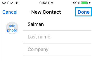 Save Contact on iPhone