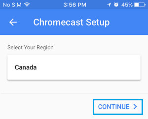 Select Country for Chromecast