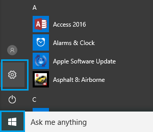Start Button and Settings Option in Windows 10