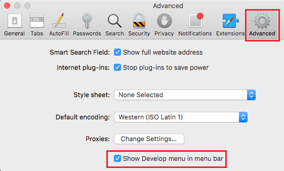 Show Develop Menu in Tool Bar Menu On Mac