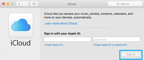 Sign-in to iCloud on Mac