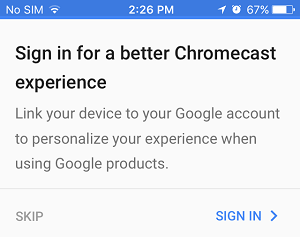 Sign Into Google Account on Chromecast