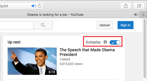 Up Next Section of YouTube On Mac