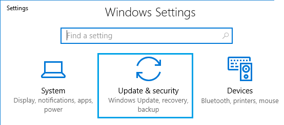 Update and Security Option on Windows Settings Screen