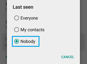 WhatsApp Last Seen Options on Android Phone