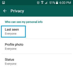 WhatsApp Last Seen Option on Android Phone
