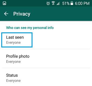 WhatsApp Last Seen Option on Android Phone