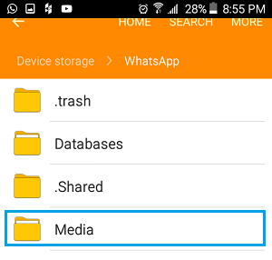 WhatsApp Media Folder on Android Phone