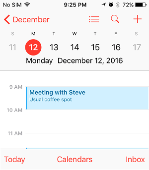 Event Name in iPhone Calendar App