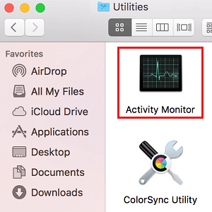 Activity Monitor in Utilities Folder on Mac