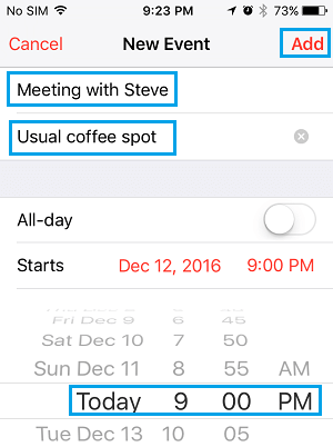 Enter Event Details and Add Event to iPhone Calendar