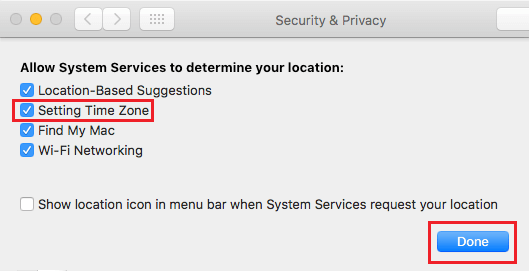 Allow System Services to Set Time Zone on Mac