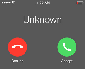 Call From Unknown Caller on iPhone