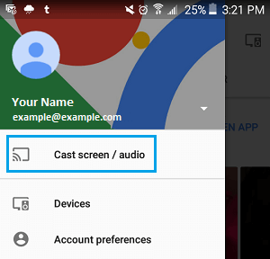 Cast Screen or Audio Option in Google Home App on Android