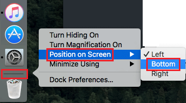 Change Dock Position From Left to Bottom of Screen on Mac