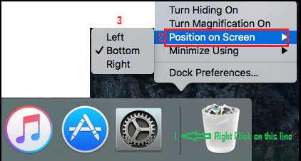 Change Dock Position By Right Clicking on Dock Line