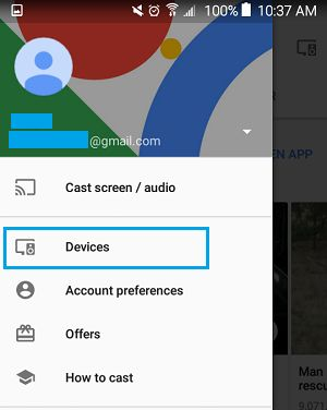 Devices Tab on Chromecast Settings Menu