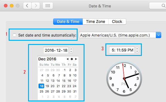 Manually Correct Date and Time on Mac