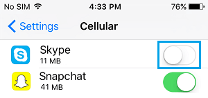 Disable Cellular Data for Skype on iPhone