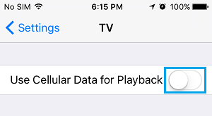 Disable Use Cellular Data for Playback Option in TV App on iPhone
