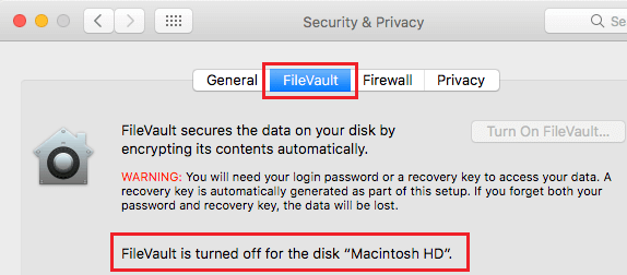 Disable FileVault On Mac