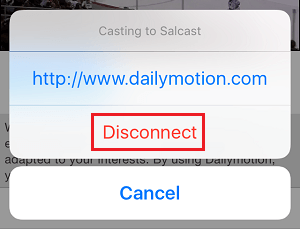 Disconnect Chromecast Option in TV & Video Cast App on iPhone