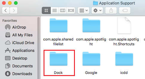 Dock Folder inside Application Support Folder on Mac