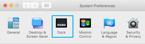 Dock Option on System Preferences Screen on Mac