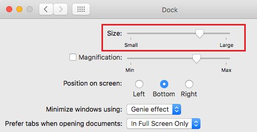 Dock Options on Mac