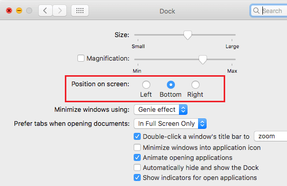 Dock Position on Screen Option on Mac