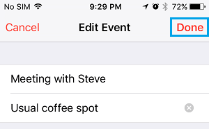 Done to Save Changes to Event on iPhone