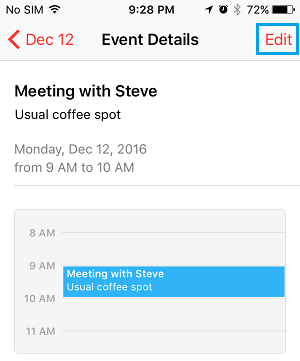 Edit Event in iPhone Calendar App